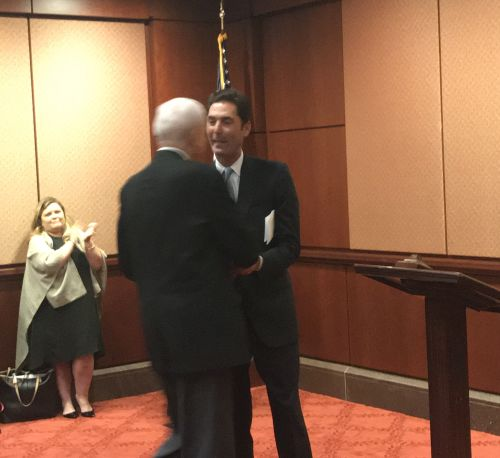 PhRMA President and CEO Steve Ubl shakes hands with Senator Orrin Hatch (R-UT)
